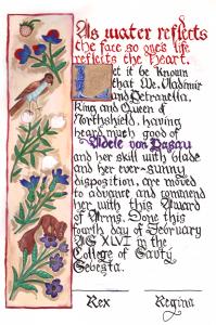Adele von Pasau's Award of Arms
